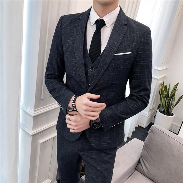 (Üst + pantolon + yelek) saç stilisti yeni moda beyefendi Ekose büyük boy takım elbise üç parçalı eğlence düğün