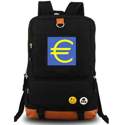 Money backpack Euro symbol day pack Free shipping school bag Casual packsack Computer rucksack Sport schoolbag Outdoor daypack