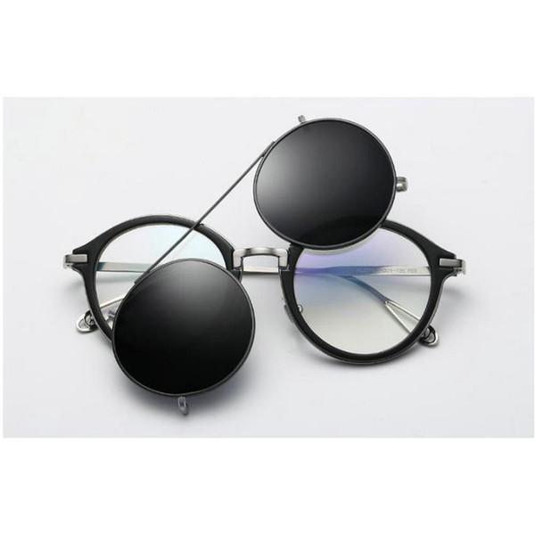 MINCL/ Retro Men Myopia sunglasses Clip Magnetic Punk Myopia Driving Glasses Clip On Dual Purpose Driving mirror goggles NX