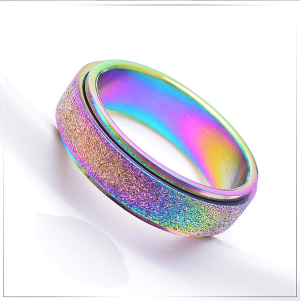 Rose Gold Titanium Steel grind rotary ring colorful pearl sand hand adorned color rotary ring