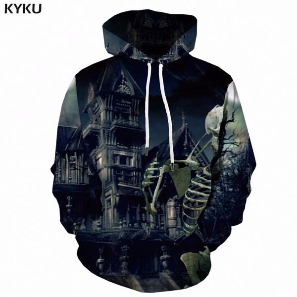 KYKU 3d Hoodies Men Skull Sweatshirt Halloween Skeleton Printed Hoodie Anime Castle Black Mens Clothing Long Streetwear Hooded