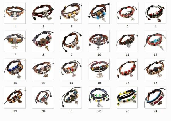 24 style selection Genuine Leather Beads Key lock Butterfly snowflake ship's anchor Skull Cross Pendant Bracelets Men Women Charm Bracelet