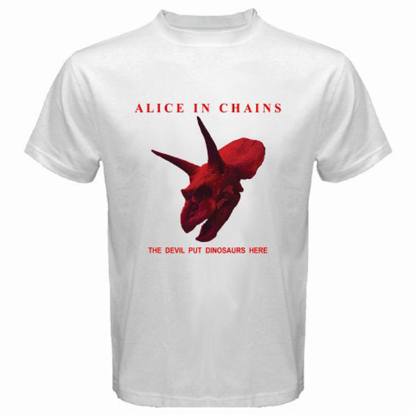 New ALICE IN CHAINS *The Devil Put Dinosaurs Here Men's White T-Shirt Size S-3XL O Neck Short Sleeves Boy Cotton Men