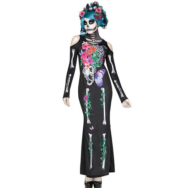 Mujeres adultas del Día de Halloween Dead Costume Ladies Nupcial Long Sleeves Black Scary Skeleton Skull Joker Cosplay Dress Más el tamaño M-XL