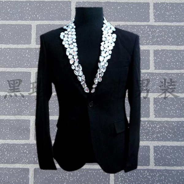 Men Suits ew-on Bead Designs Masculino Homme Terno Stage Costumes For Singers Men Sequin Blazer Dance Clothes Jacket Star Style