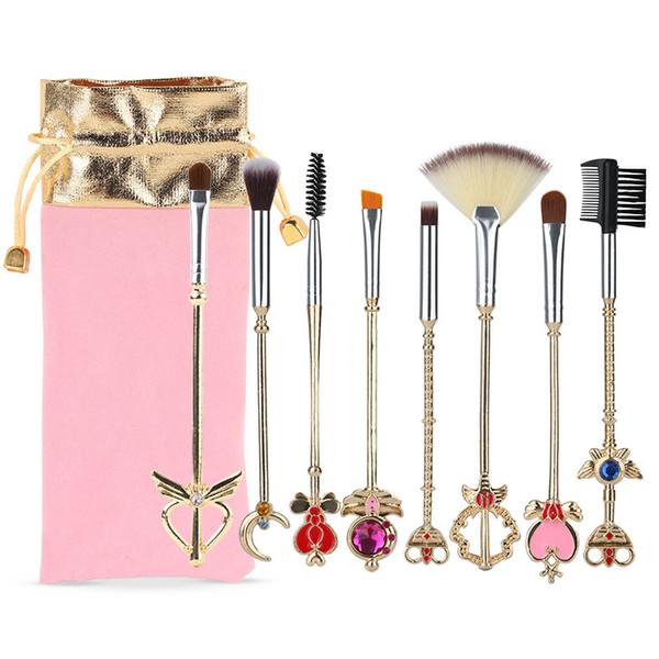 Sailor Moon Makeup Brushes 8pcs Gold Metal Diamond Make Up Brushes Eye Shadow Eyebrow Cosmetic Brush Set Kit Tools with Pink Velvet Bag