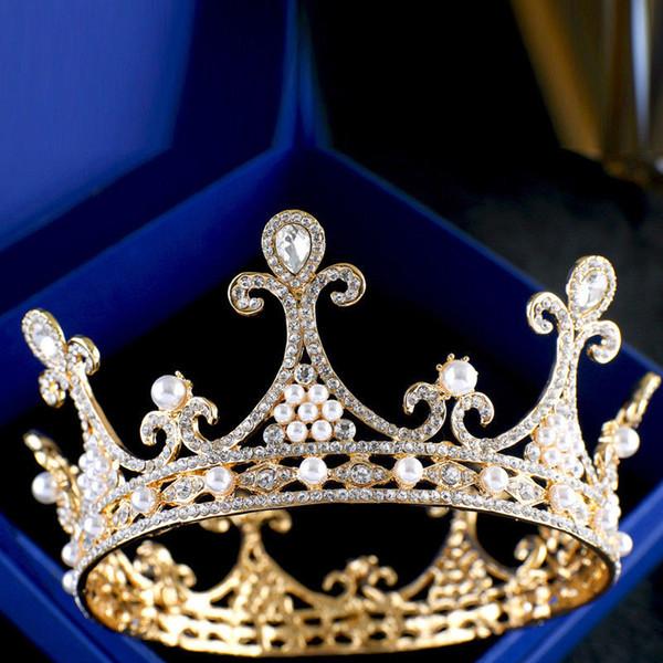 Perle da sposa Perle d'oro Regina Corona strass Accessorio per capelli Diadema Copricapo Novità per matrimonio