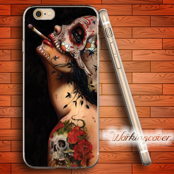 Coque Skull Smoke Soft Clear TPU Case for iPhone X 8 6 6S 7 Plus 5S SE 5 5C 4S 4 Case for iPod Touch 6 5 Cover.