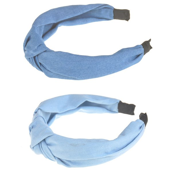 Fabric Bow Knotted Headbands For Girls Kids Boutique Headwear Hair Accessories Top Sale Lovely Women Hairbands Denim