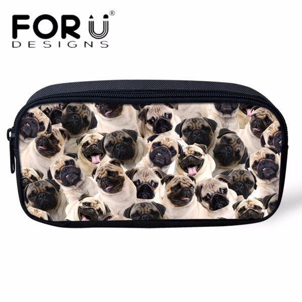 FORUDESIGNS Cute Animal Pug Dog Kids Mini Pencil Bags Women Travel Cosmetic Cases Makeup Necessaries Toiletry Bag Beauty Girl