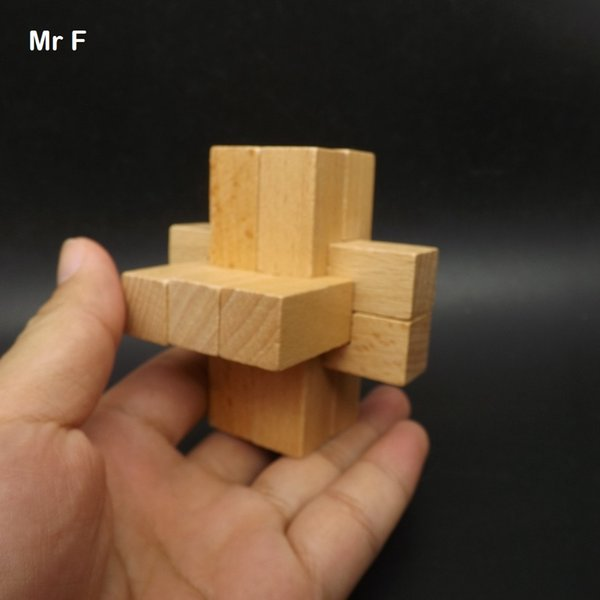 Funny 9 Stick Block Kong Ming Lock Wooden Puzzle 3 Axle Wood Model Toys For Kid Teaching Game
