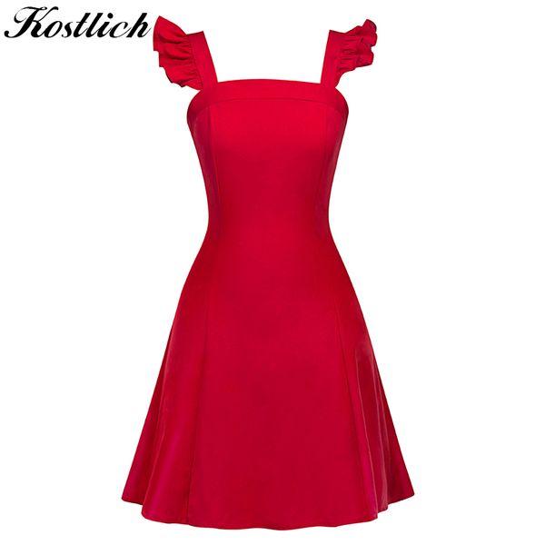 wholesale Sexy Ball Gown Evening Party Dresses Sundress Elegant Women Summer Dress Sleeveless Swing 1950s Vintage Ruffles Dress