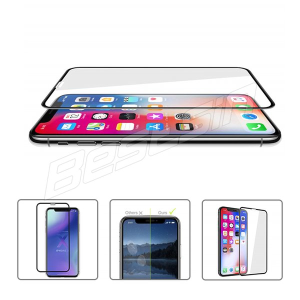 Bestsin For Iphone XS MAX XR Full Screen Tempered glass Film 9H Hardness Anti-Scratch For Iphone X 8 7 6 With the Retail Box