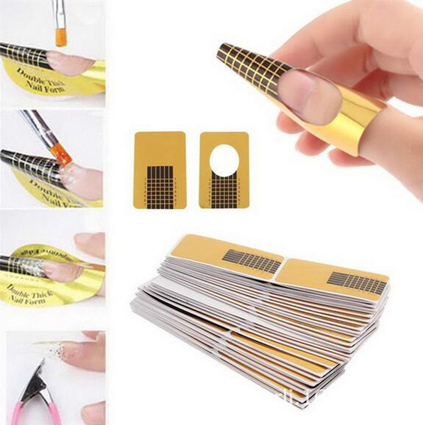 100PCS/pack Golden Horseshoe Shape Nail Forms Nail Art Sculpting unhas posticas Acrylic UV Gel Tips Extending Tools