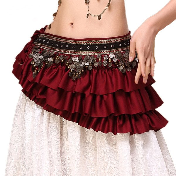 best selling 2018 New Tribal Bellydance Clothes Gypsy Costume Accessories Fringe Wrap Coins Belts Hip Scarf Belly Dance Belt