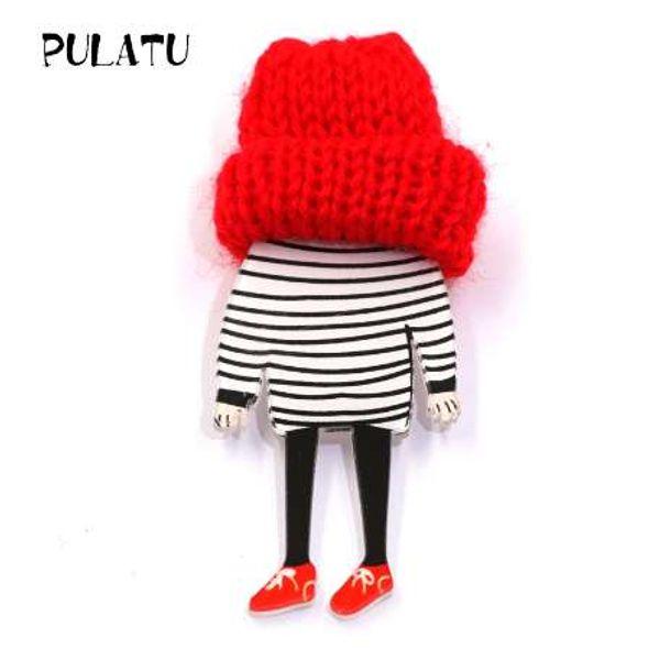 PULATU Mode Striped T-shirt Junge Broschen Wolle Cap Acryl Pins Jungen und Mädchen Tasche Pullover Mantel Schmuck Zubehör XZ0912