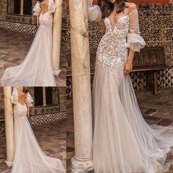 2018 Berta Mermaid Wedding Dresses Backless 34 Long Sleeve Sweep Train Tulle Applique Beads Sexy Unique Boho cheap wedding dresses