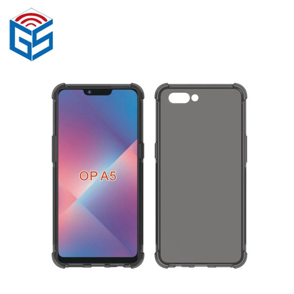 For Oppo A5 Full Clear Cell Phone Case Shock Absorption Soft Gel Transparent TPU Back Cover