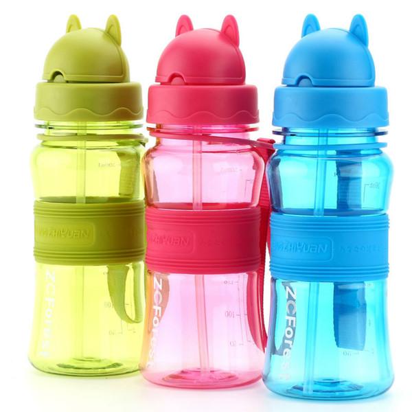 water bottle bpa free 300ml Kids Water Bottle BPA Free Portable Tritan Plastic Sport Shaker Bottles With Straw For School Kids Children
