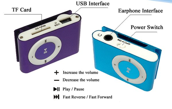best selling Mini Clip MP3 Player - Hot Cheap Colorful Sport mp3 Players Come with Earphone, USB Cable, Retail Box, Support Micro SD   TF Cards 770002-1