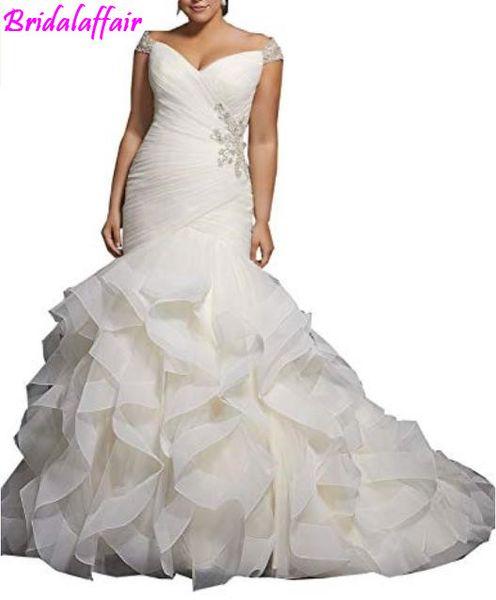 Sweetheart Capped Sleeves Lace-up Beading Layer Organza Mermaid Bridal Dresses vestido de noiva bridal gown luxury wedding dress
