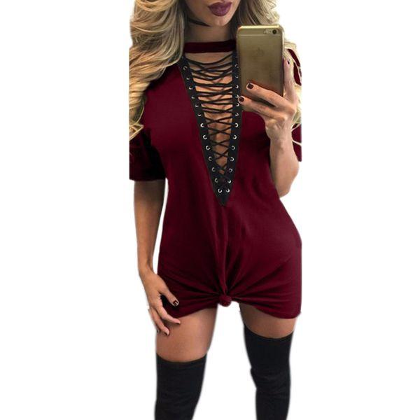 2019 Bandage Women Dress V Neck Short Sleeve Loose Summer Dresses Sexy Casual Shirt Lace-up Dress Party Plus Size GV529