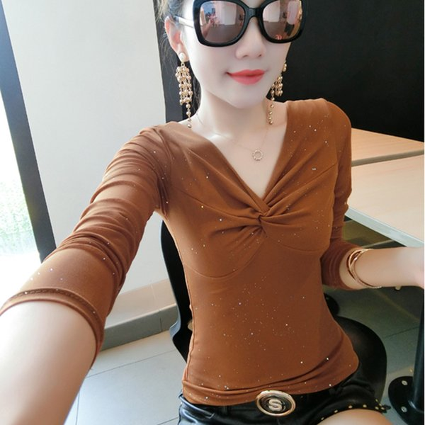 Blouse Femme Mesh Print Blouses Korean Clothes 2018 Autumn Casual Long Sleeve Elasticity Shirt Women Sexy V-Neck Tops Ropa Mujer
