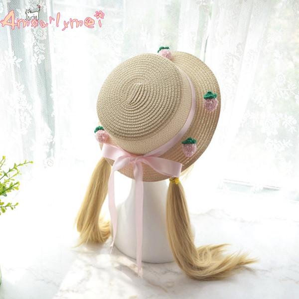 Hats Caps Sun Hats Amourlymei Hot Sale 2018 New Summer Beach Women Sun Hat Japanese Style Mori Girl Lolita Kawaii Strawberry Pink