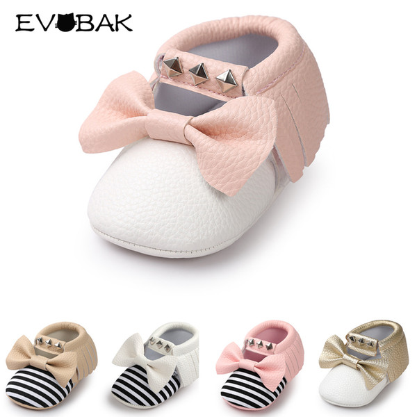 Baby Girls Shoes Spring Summer Toddler Shoes For Baby Bowknot Crib Boys Girls Soft Sole Cute Prewalker 0-24M