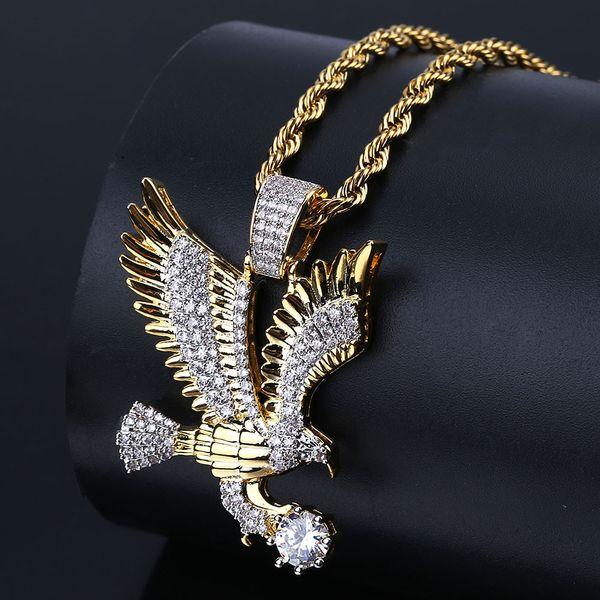 Hip Hop Gold Farbe Überzogen Kupfer Iced Out Mikro Gepflasterte CZ Adler Anhänger Halskette Männer Charme Schmuck Drei Stil Ketten
