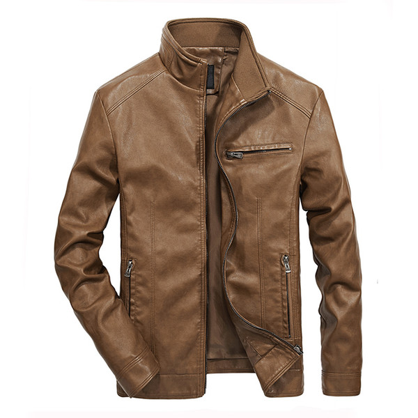 Spring Autumn New PU Leather Men's Leisure Leather Jacket Washed Thin Standing collar Motorcycle Leather Jacket Coat Size M-5XL