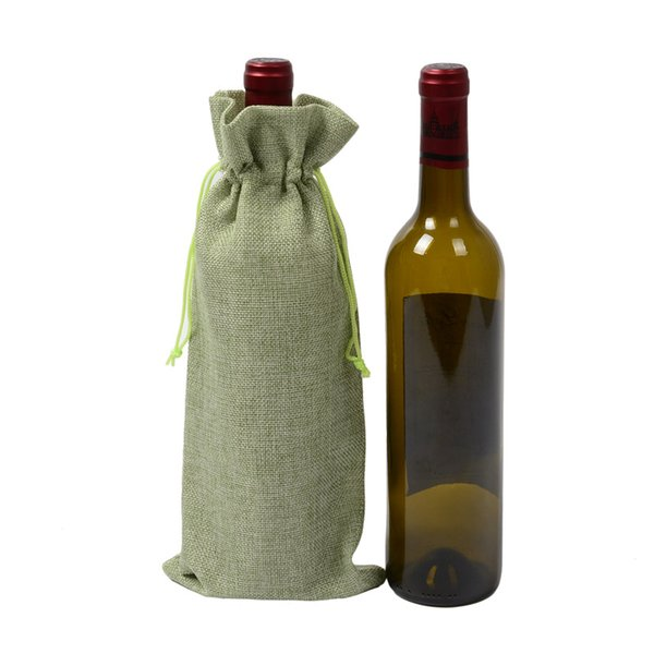 14Style Linen Drawstring Wine Bags Dustproof Bottle Packaging Champagne Pouches Christmas Gift Bags Party Gift Wrap TC181009 500pcs