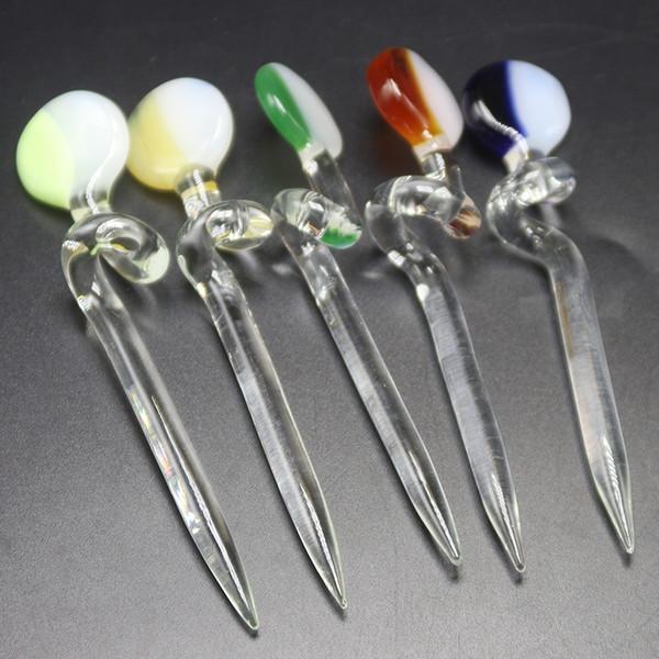 12 سنتيمتر قصيرة الزجاج الملون دابر الكرة كارب كاب dabber الشمع dab bong أداة ل الكوارتز بانجر مسمار الزجاج بونغس أنابيب