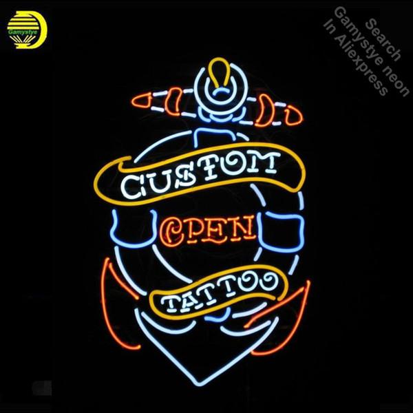 Leuchtreklame für Tattoo Custom Open neon Glühbirne Zeichen leuchtet Glasrohr Iconic Custom Design Nachtlicht Arbeit Shop Display