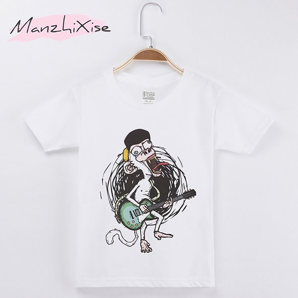 2018 Best Selling Children Clothes Kids T-shirts Rock Monkey Star 100% Cotton Child Clothing Boys Short T Shirt Girl Tops Tee Baby Shirts