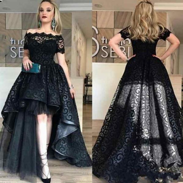 1e994a651d660 Siyah Tam Dantel Yüksek Düşük Gelinlik Modelleri ile Kollu Kapalı Omuz Abiye  giyim Kısa Ön Uzun