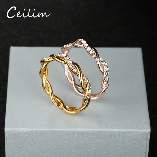 top popular Round Rings For Women Thin Rose Gold Silver Gold Color Twist Rope Stacking Wedding Rings in Zinc Alloy Bijoux Wholesale Jewelry Gift 2019