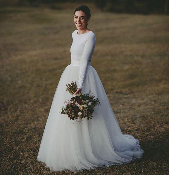 Einfache Country Long Sleeve Brautkleider Günstige Brautkleider Scoop Sweep Zug Tüll Lange Kleider Für Hochzeit