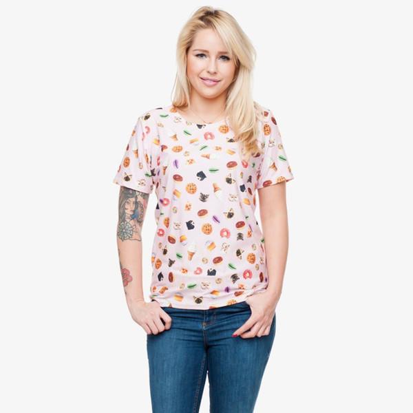 Maglietta da donna Cat Sweet 3D Full Print Girl Maglietta a maniche lunghe con stampa digitale T-shirt a maniche corte T-shirt da donna con scollo tondo (GL30179)
