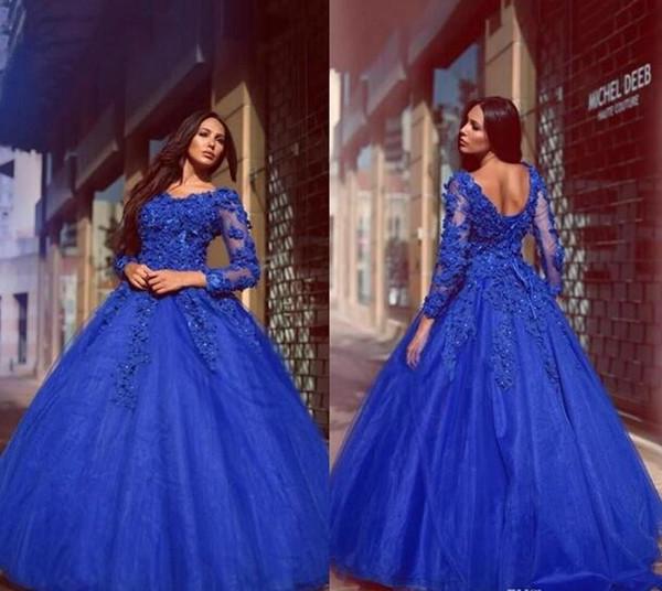 Vestidos glamorosos Royal Blue Ball Vestido de quinceañera Vestidos de flores Hasta el suelo Hasta las mangas largas Vestidos de fiesta