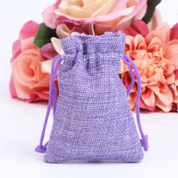 50Pcs Vintage Natural Jute Hessian Drawstring Pouch Burlap Wedding Favor Gift Bags