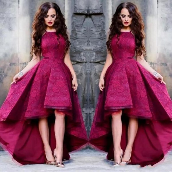 Hot Selling Burgundy Prom Dresses Spaghetti Sleeveless Lace Applique High Low Evening Dresses Wear Cheap Party Evening Dress