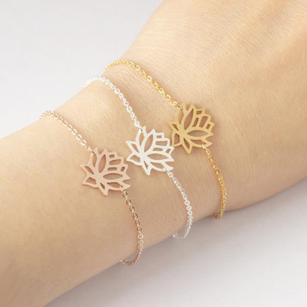 Edelstahl Gold Charme Healing Lucky Lotus Blume Armbänder für Frauen Boho Schmuck zarte Kette Yoga Armband Mom Geschenke