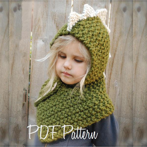 Kids Dinosaur Crochet Hats Beanie Boys Girls Knitting Hooded Hat Scarf 2 in 1 Infant Warm cartoon Neckscarf Neck Collar Scarves Dino Caps