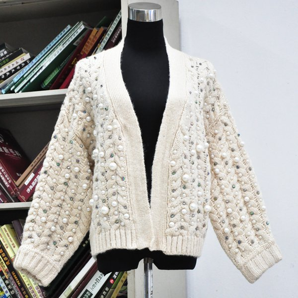 2018 Beauty Pearl Sweater Autumn and Winter Hand Nail Bead Women Mohair Sweater Twist Knitting Cardigan Jacket