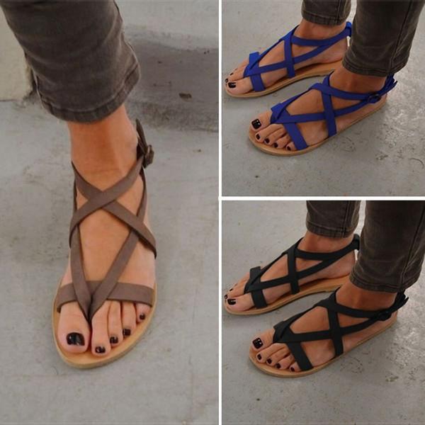 Women Sandals Soft Bottom Summer Shoes Gladiator Sandals Women Buckle Strap Casual Shoes For Woman Beach Sandalia Feminina 34-43