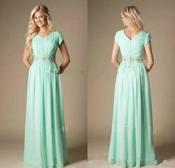 2018 New Beach Bridesmaid Dresses mint green A Line Jewel Cap Sleeve Floor Length Bridesmaid Gowns With Chiffon Beaded Sash Formal Dresses