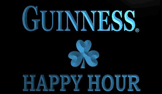LS1278-b-Guinness Shamrock Happy Hour Bar 3D LED Neon Light Sign Customize on Demand 8 colors to choose