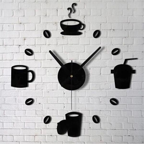 Acquista 2017 Tazze Di Caffè Da Cucina A Parete Specchio Orologio Design  Moderno Decorazione Della Casa Decor Wall Sticker Soggiorno All\'ingrosso  M913 ...