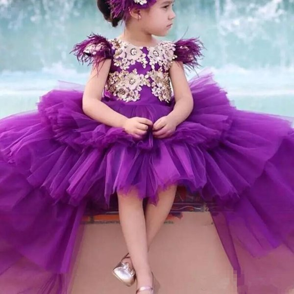High Low girls pageant dresses Cap Sleeves Feather Beads Appliques Tulle Tiered Flower Girls Dress Back With Bow Kids Birthday Dress